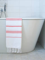 hammam towel white/coral red