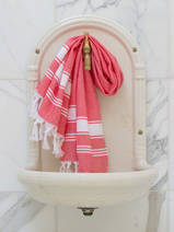 hammam towel coral red/white