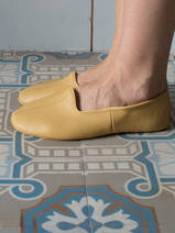 leather house slippers - yellow