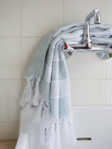 hammam towel with terry cloth, grey-green