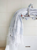 hammam towel with terry cloth, grey