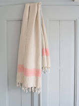 linen hamam towel coral red striped
