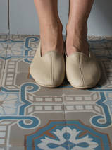 leather house slippers - beige