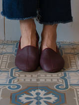 leather house slippers - burgundy red