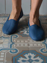 leather house slippers - dark blue