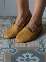leather house slippers - ocher yellow