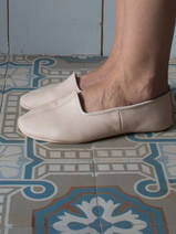 leather house slippers - light pink