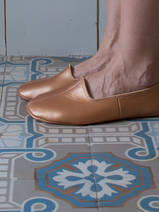 leather house slippers - copper (glossy)