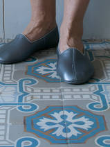 leather house slippers - shiny grey
