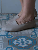 leather house slippers - beige-grey