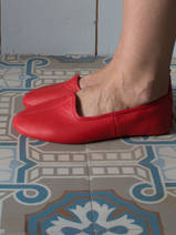 leather house slippers - red
