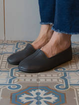 leather house slippers - dark grey